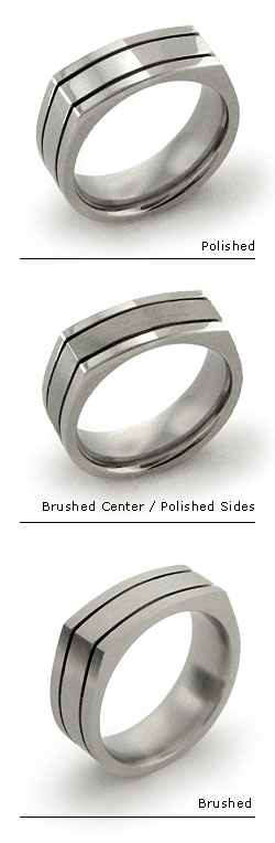 Squared Titanium Ring with Deep Grooves
