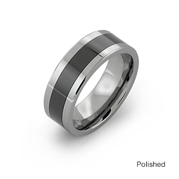 Tungsten Carbide Ring With Wide Black Ceramic Inlay Titaniumstyle Com