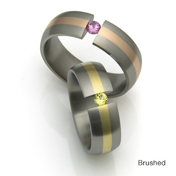 Stone Set Titanium Rings