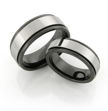 Black Ceramic rings with Tungsten insert