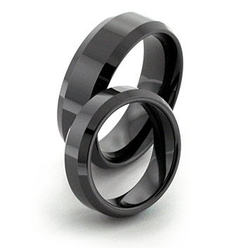 Black Tungsten Ceramic Rings with Bevels