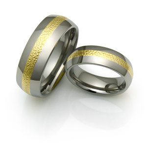 Inlaid titanium rings