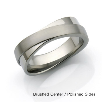The Titanium Infinity Ring with Brushed Center and polished sides from Titanium Style