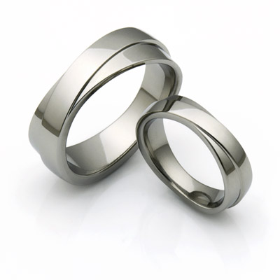 Infinity titanium wedding rings