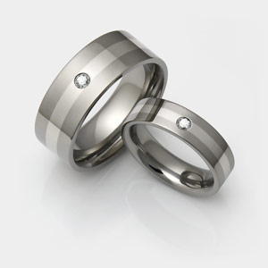titanium rings with diamonds and platinum inlay