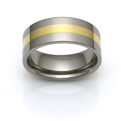 titanium rings with 18k gold inlay