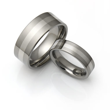 titanium rings with platinum inlay