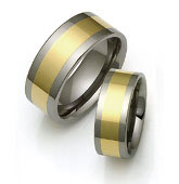 wedding rings with wide gold inlay