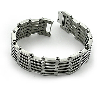 Polished  Men's Titanium Bracelet with large links