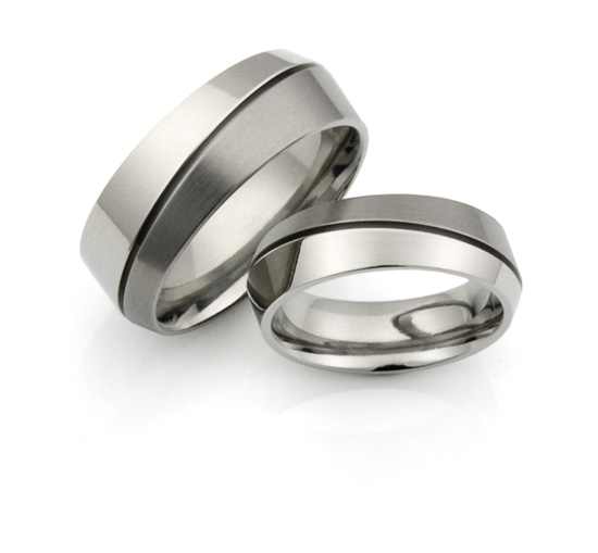 offset titanium rings - Men's and Women's set