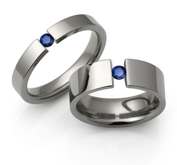 Titanium Tension Rings with sapphires