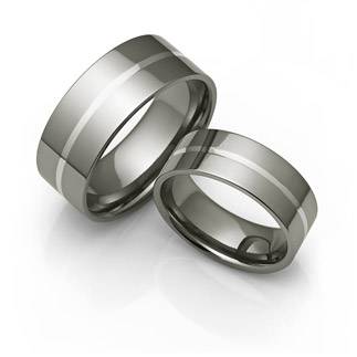 classic men's titanium rings with thin platinum center
