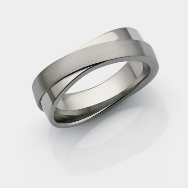 Infinity titanium wedding ring