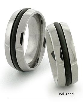 Domed Black titanium rings with rubber