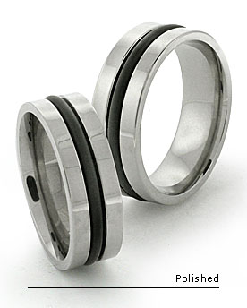 Black inlay titanium rings