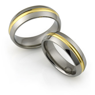 Mens Titanium wedding bands with gold inlays