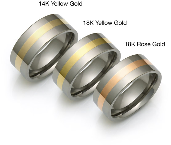 titanium and gold rings with 18k rose and yellow gold
