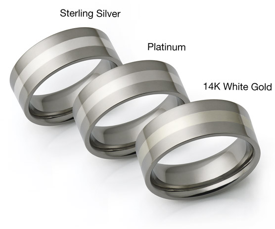 titanium rings with white gold, platinum and silver inlays