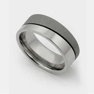 Titanium wedding rings with diamonds and offset groove.