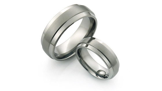 all titanium rings with brushed and polished finish