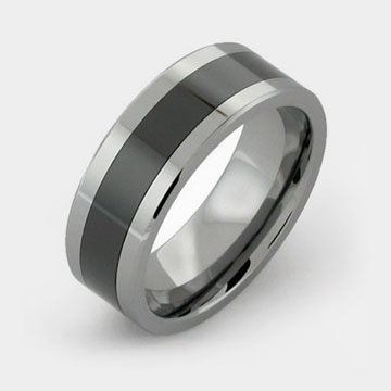 tungsten rings with black ceramic inlay by titaniumstyle