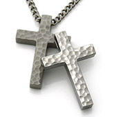 Hammered Titanium Cross