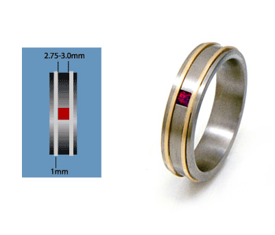 custom titanium ring, gold ruby