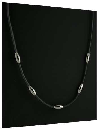 Titanium and Black Rubber Necklace