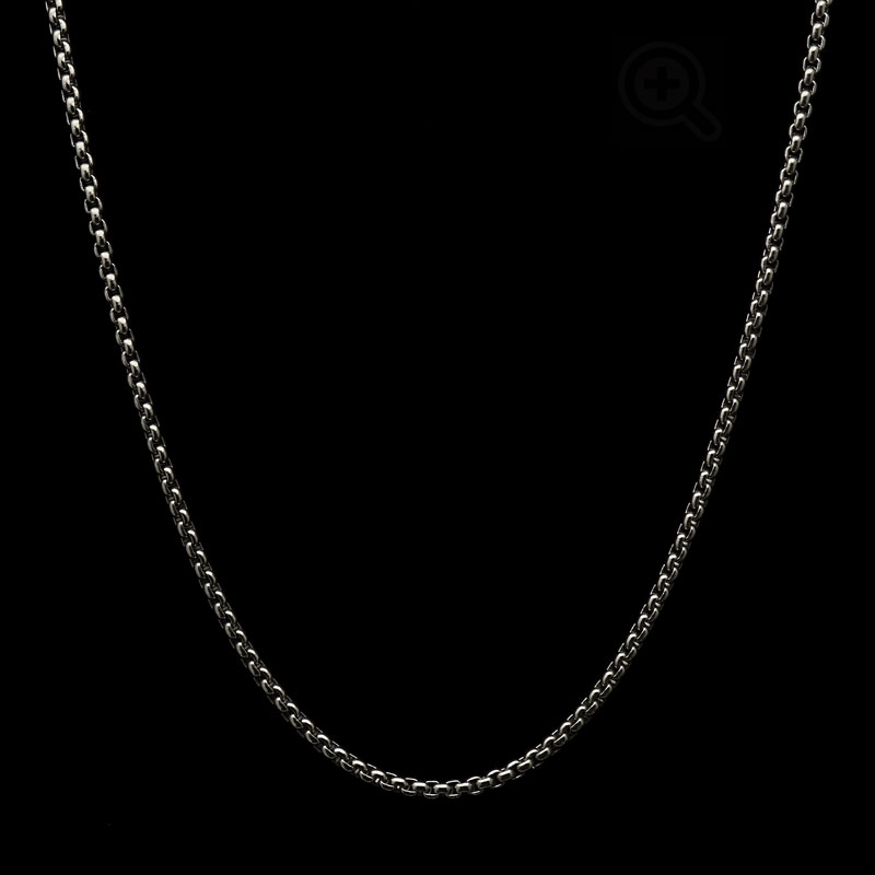 round box chain titanium necklace for men and women, shown in small size