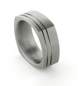 custom made titanium ring with grooves