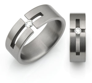 Titanium rings with subtle cross symbol design