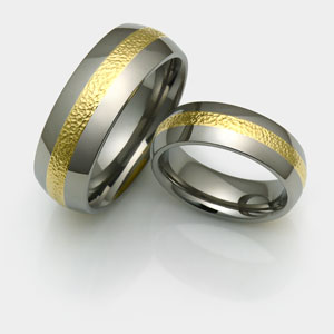 micro hammered inlay titanium rings with 18k yellow gold in polished finish