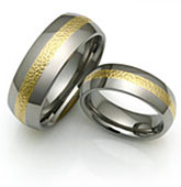 Micro Textured Gold and Titanium Rings