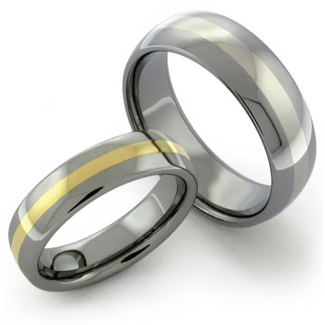 Tungsten Rings with Gold and Platinum inlays