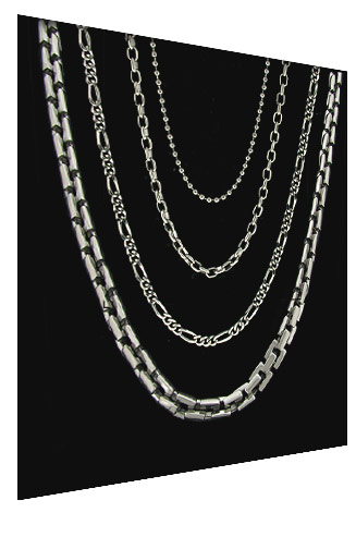 men's titanium chain necklaces pictured on black background