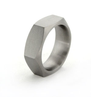 custom made nuts-and-bolts titanium rings