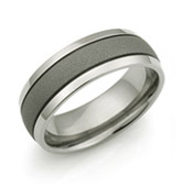 Sandblasted center titanium ring with thin grooves