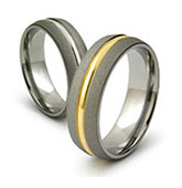 Sandblast Finish Titanium Ring with Gold Center Inlay