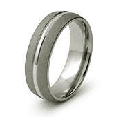 Domed sandnlast finish Ring with Polished Center Design