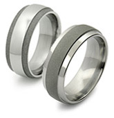 Sandblasted Titanium Ring  w/ Step-Down Sides