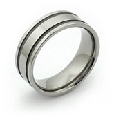 Flat Titanium Ring with  Two Sandblasted Grooves