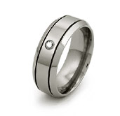 beveled ring with round stone