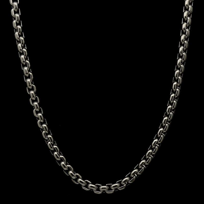 titanium chain large box necklace features titanium clasp