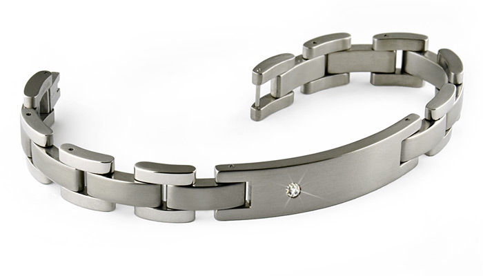 Diamond set titanium bracelet with ID plate. Engraving ready