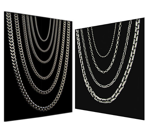 titanium chain collection on black