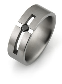 Titanium tension set ring with cross
