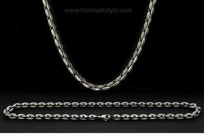 oval box link titanium necklace