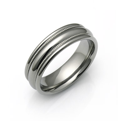 milgrain titanium wedding rings