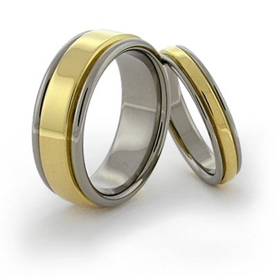 inlaid titanium rings with rolled sides and 18k elevated gold
