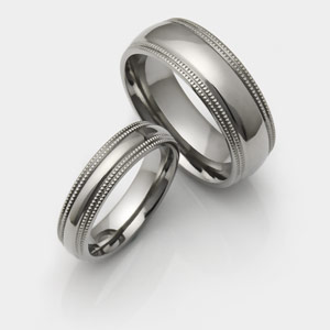 Titanium wedding rings with Double Milgrained Sides.